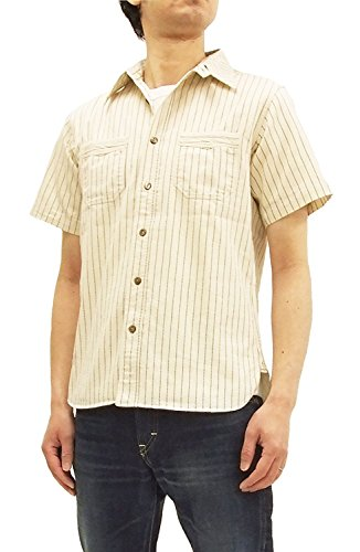 Diagonal Stripe Woven Shirt - Sugar Cane Men's Ecru Wabash-Stripe Work Shirt Short Sleeve Shirt SC37275 Japan L (US M-L/UK 38-40)
