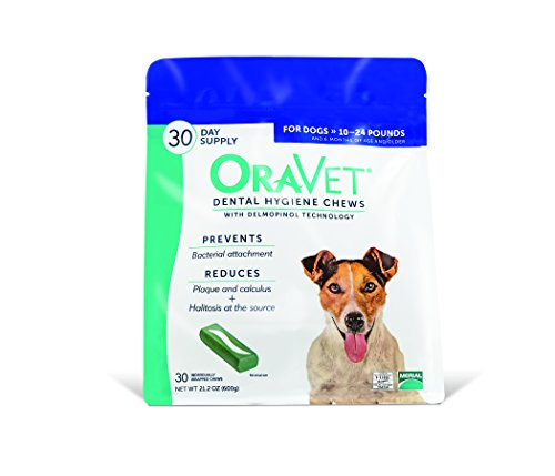 Frontline Merial Oravet Dental Hygiene Chew for Dogs (10-24 lbs), Dental Treats for Dogs, 30 Count