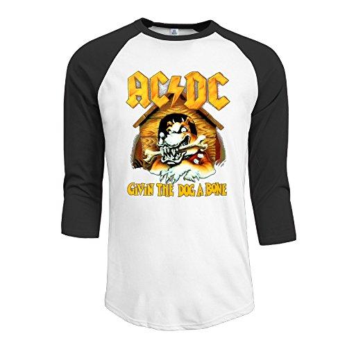 Cotton Men's AC DC Givin The Dog A Bone Back In Black 3/4 Sleeve Baseball Tee Shirts (Ac Dc Givin The Dog A Bone)