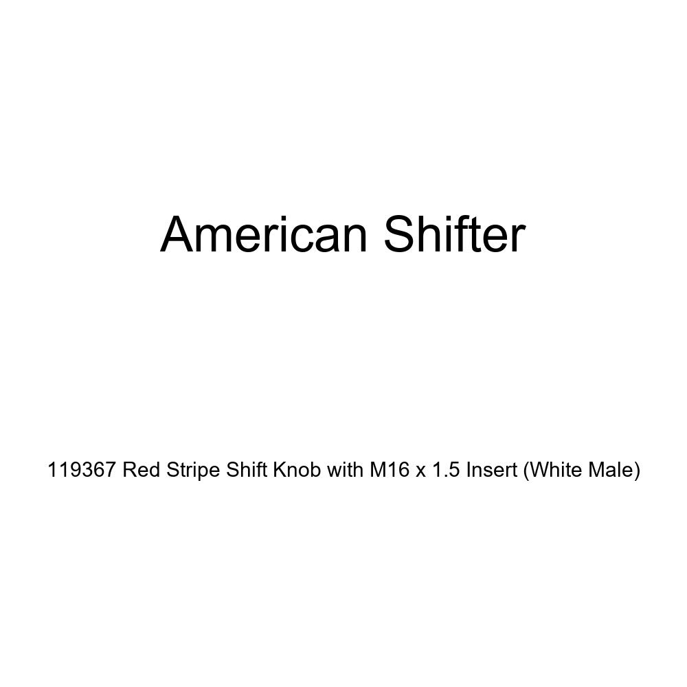 White Male American Shifter 119367 Red Stripe Shift Knob with M16 x 1.5 Insert