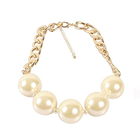 KOSMOS-LI Large Simulated Pearl Beads Necklace With Gold Plate Aluminum Chain Women Jewelry (Gold Plate Chain Necklace)