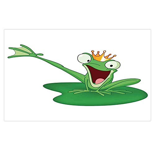 3D Floor/Wall Sticker Removable,Animal Decor,Happy Frog Prince with Crown in The Lake Romantic Character Love Fairytale Art,Green Orange White,for Living Room Bathroom Decoration,35.4x23.6