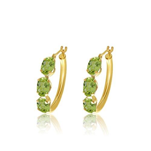 10k Yellow Gold 6×4 Oval Shape Natural Peridot 3-Stone Hoop Earrings