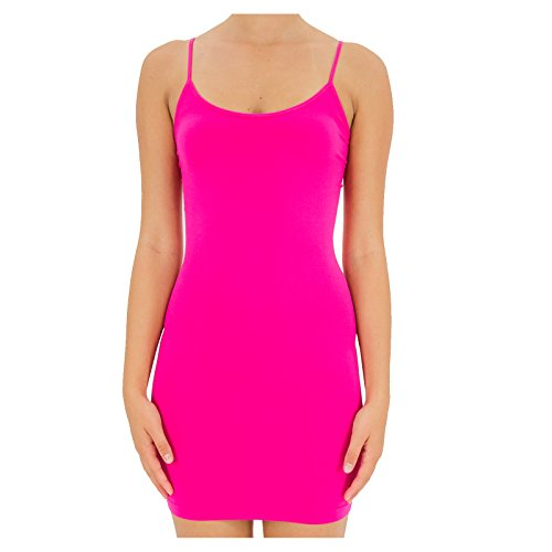 45ee646374e TD Collections Women s Seamless Extra Long Camisole with Spaghetti Strap  (Neon Pink)