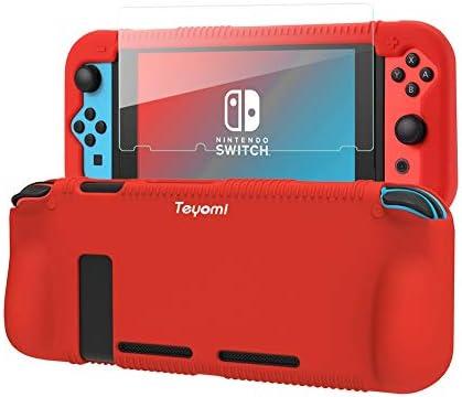 Teyomi - Carcasa de Silicona para Nintendo Switch (Incluye Protector de visualización de Vidrio Templado), Rojo 3