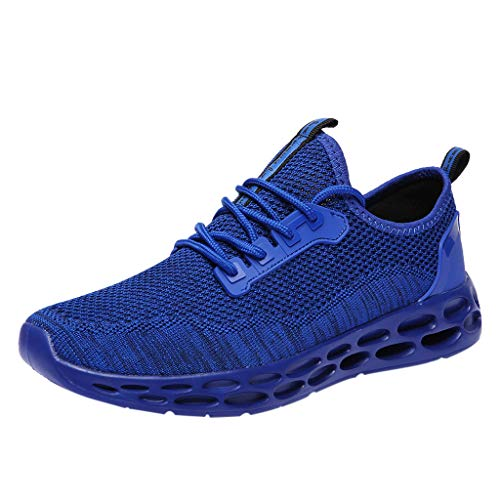Hot!Ninasill Man Solid Color Splice Tied up net Breathable Light Sports Shoes Modern Running Shoes Fashion Casual Shoes Blue
