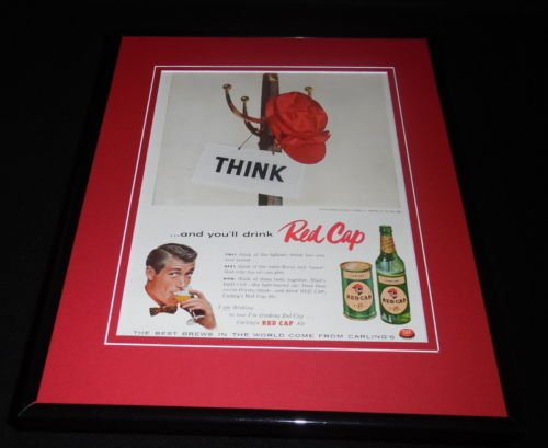 1956 Carling Red Cap Ale 11x14 Framed ORIGINAL Vintage Advertisement
