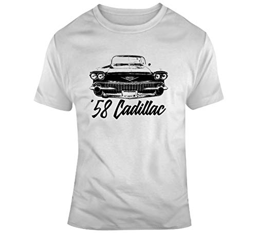 1958 Cadillac Coupe Deville Grill View with Model Year Light Color T Shirt S White