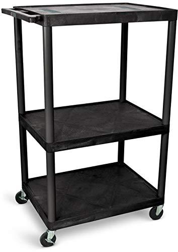 Luxor LE54-B 54'H AV Cart - Three Shelves