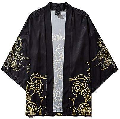 TINGS Hombres Kimonos para Mujer Ropa Japonesa Cardigan de Kimono para Hombre Vestido de Kimono étnico Yukata Blusa de Verano Femenina Kimono, Caqui, XXL: Amazon.es: Hogar