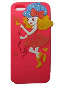 HJX Iphone 5 Lovely Singing Girl Soft Rubber Silicon Skin Cover Case for Apple Iphone 5 5G Hot Pink
