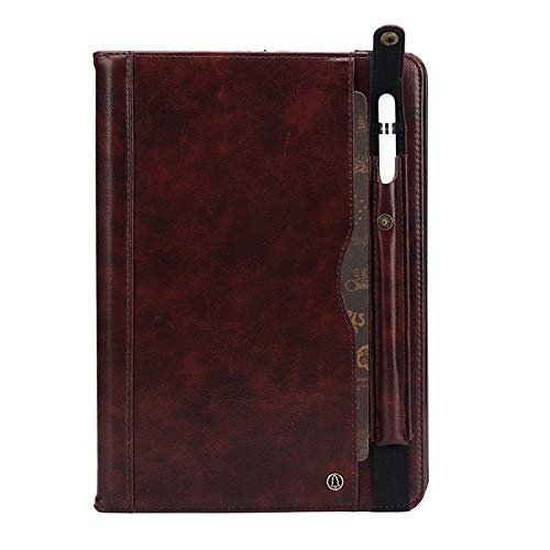 Price comparison product image iPad Pro11 Cover,  TechCode Premium PU Leather Business Folio Stand Case with Pencil Sleeve Card Slots Pocket Multiple Viewing Angles Protective Smartshell Cover for iPad Pro 11 2018 Release, Dark Brown