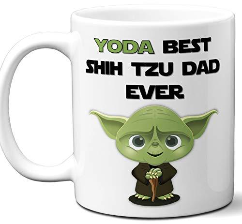 Shih Tzu Dad Gift For Men. Funny Coffee Mug, Tea Cup. Star Wars Yoda Dog Themed Present Dog Lover Men Girls Groomer Women Xmas Birthday Mother's Day, Father's -
