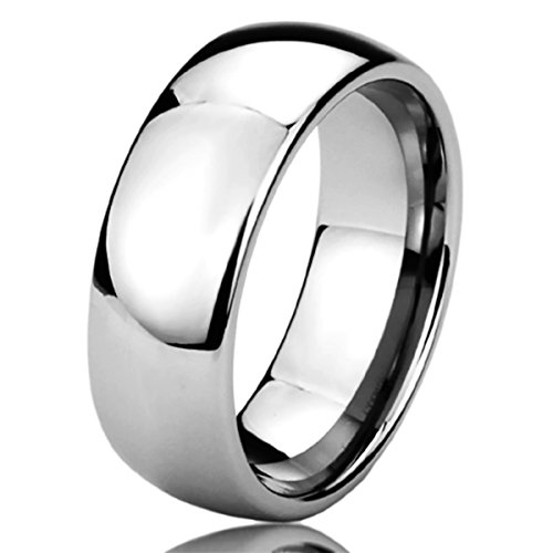 (Free Engraving Personalized Titanium Comfort Fit Wedding Band Ring 8mm Classic Ring-SIZE 8)
