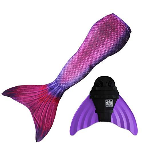 Sun Tails Mermaid Tail + Monofin for Swimming (6- Teen/Adult L (JL 12-16), Bali Blush - Purple Monofin) (Cheap Swimming Mermaid Tail)