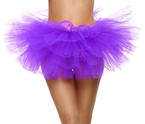Feoya Sexy Mini Jupe Tutu Courte Bal Ballet Tulle 5 Couches en Dentelle Costume Femme Jupon Princesse Bouffe Pliss pour Danse Cosplay Dguisement Elastique Soire Scne Tour de taille 64-90cm Violet