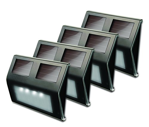 MAXSA Solar LED Deck & Step Lights (4-Pack), Bronze Stainless Steel 47334-BZ