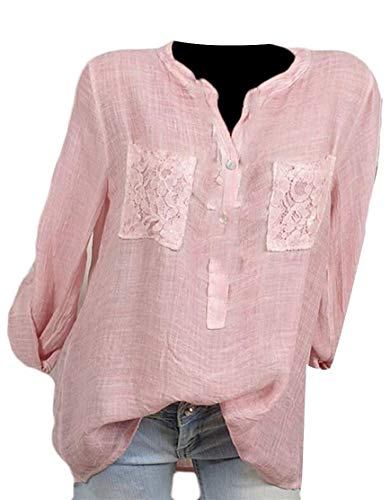 Con Pink Pizzo Women E T Xxs shirt Maniche Size Coat Pink Home A Girocollo In color Lino Lunghe 1qwqCgAIx