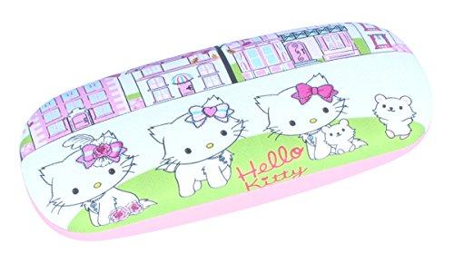 Super Étui à lunettes pour enfants Hello Kitty dans le jardin avec charnière en métal