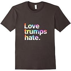 Mens Colorful Love Trumps Hate T Shirt Anti-Trump Sanders Large Asphalt