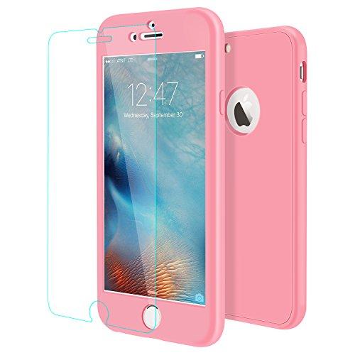 iPhone 6S Plus Hülle , ivencase [Armor Series] Case Soft Silikon [Rosa] Premium TPU Handyhülle Shockproof Cover Front & Back + Tempered Glas Display Schutz Neuer Design Vollschutz Schild für iPhone 6S