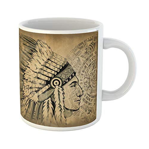 Semtomn Funny Coffee Mug Aztec Calendar and Face of the Man with Traditional Headdresses 11 Oz Ceramic Coffee Mugs Tea Cup Best Gift Or Souvenir -