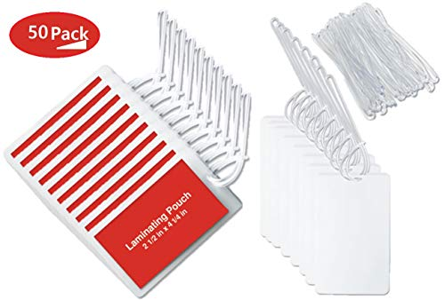 """1InTheOffice Clear Laminating Pouch with Loop Attachment, Luggage Tag Style 2 1/2"""" x 4 1/4""""-""""50 Pack"""""""