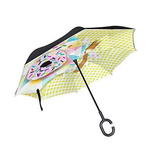 Reverse Umbrella,DIY Donut Inverted Night Reflective Edge Golf Umbrellas,Double Layered Polyester Canopy,O-Shape Handle (Patio Stand Diy Umbrella)