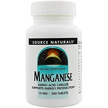 Source Naturals Manganese Chelate 10mg Elemental, 250 Tablets