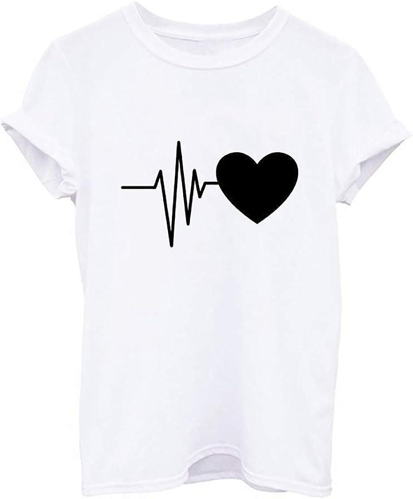 AOJIAN T Shirt Women Short Sleeve Shirts Tunic O Neck Heart Electrocardiogram Print Blouse Tanks Vest Tops