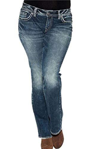 Droite Jeans pour Femmes en Dtresse Denim Stretch Pantalon Lavage Bleu Fonc