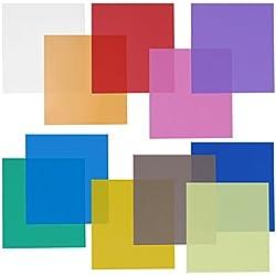 "Neewer 12x12"" Transparent Color Gel Filter Set Pack of 11 Sheets for Photo Studio Strobe Flashlight(Green, Blue, Purple, Pink, Red, Light Gray, Dark Gray, Yellow, Beige, Fresh Green, Acid Blue)"