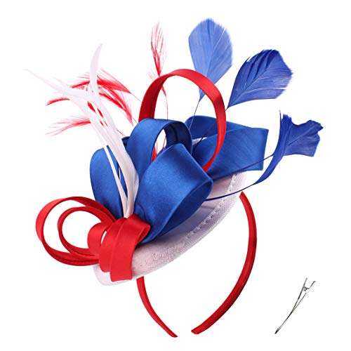 Fascinator Hats for Women 4th of July Patriotic Color Feather Cocktail Hats Kentucky Derby Headband (US Flag Color Red Blue White) (White Stripes Band)