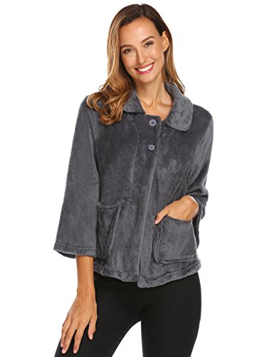 Ekouaer Bed Jackets for Ladies Long Sleeve Button Up Soft Flannel House Coats Dark Grey XXL