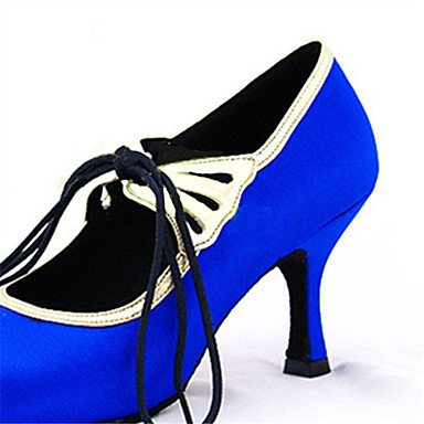 XIAMUO Anpassbare Damen Tanz Schuhe Satin Satin Latin/moderne Sandalen/Fersen angepasste Ferse Professional/innen Blau, Blau, UNS 9.5-10/EU 41/ UK 7,5-8/CN 42