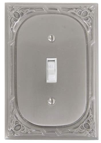 - Solid Cast Brass Single Switchplate with Victorian Pattern in Pewter Finish