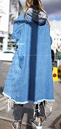 Abiertas Chaquetas Vaqueras Casual Moda Chic Mujer Larga Encapuchado Manga Primavera Jacket Outerwear Hipster Elegante Denim Coat Blau Otoño Parka Botón r0xTraznq