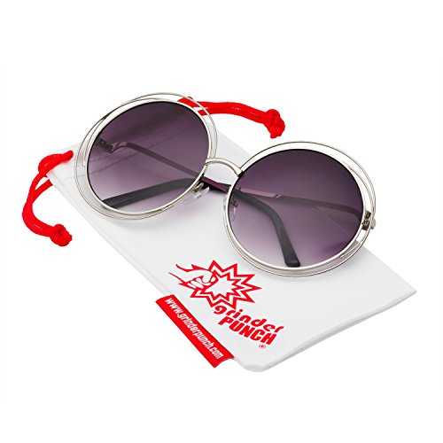 grinderPUNCH Women's Round Oversized Wire Sunglasses in Metal Silver - For Sunglasses Women Xxl