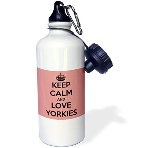 Sports Water Bottle Gift, Keep Calm And Love Yorkies Pink And Brown White Stainless Steel Water Bottle for Women Men 21oz