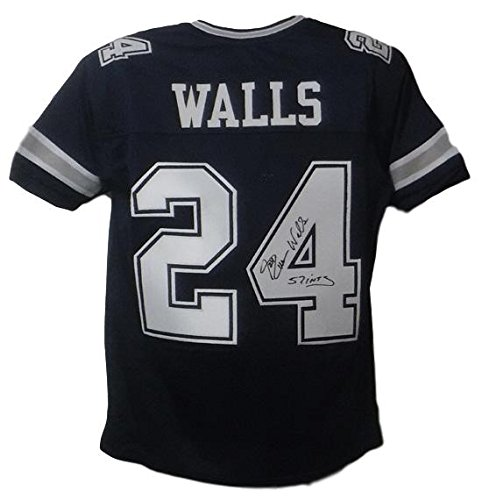 Everson Walls Autographed Dallas Cowboys Custom Size XL Blue Jersey 57 - Int Denver