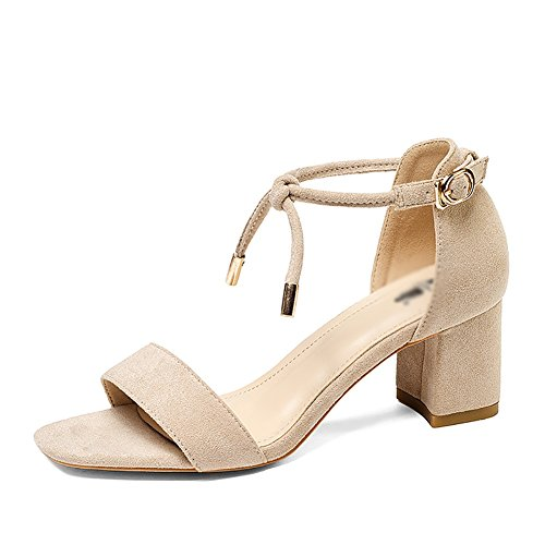 Sandals ZCJB Woman Summer Thick with Word Band Mid Heel Student Wild Simple Apricot jCYZl