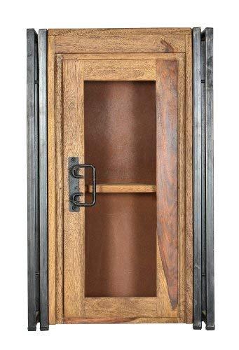 Sit Möbel 9202-01 Hängeschrank Panama Shesham natur mit schwerem Altmetall und Gebrauchsspuren, 44 x 21 x 72 cm, 1 Holztür mit Glaseinsatz