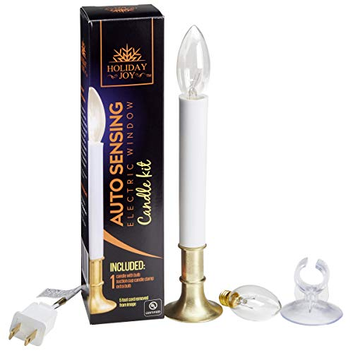Holiday Window - Holiday Joy - The Original Corded Electric Window Candles Lamp Kit with Auto Sensor - Set Includes 1 Candle, 2 Bulbs, 1 Suction Cup Holder - 5W, 120V (1 Candle Kit)