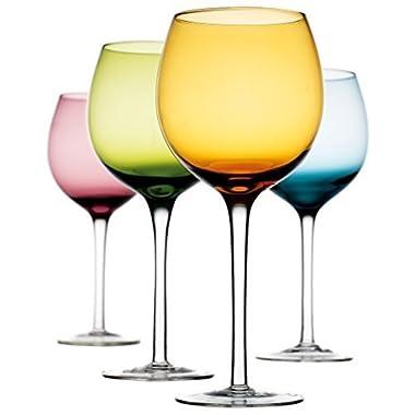 Home Essentials Tuscana Asst Color 16oz Wine Glass S/4 [HE/Wht Box]