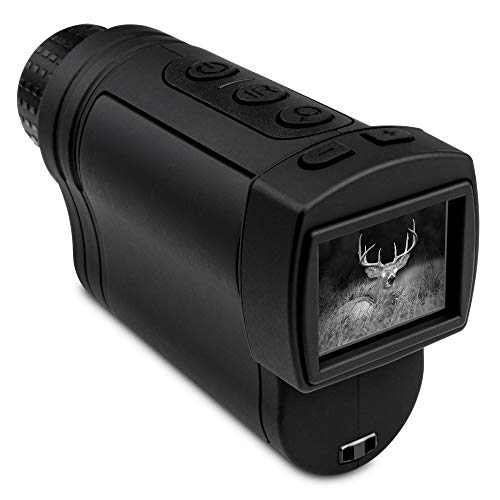 Hike Crew Night Vision Monocular, Infrared Digital Small Binocular Scope for Hunting, 400m Viewing Distance, LCD Screen, 2X Magnification, 7 Levels of Brightness, Carry Case Included