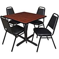 Cain 42 Square Breakroom Table- Cherry & 4 Restaurant Stack Chairs- Black