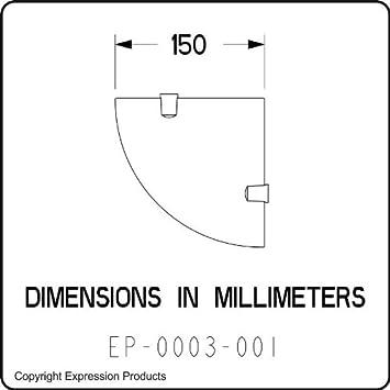 circa 6/pollici//15,24/cm viene fornito con elementi di fissaggio in metallo cromato bianco 150/mm acrilico Scaffale angolare per il bagno
