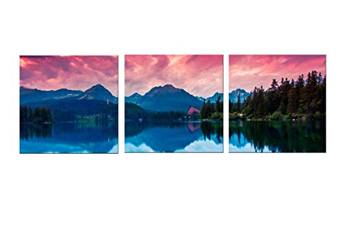 Canvas Wall Art Mountains Lake Red Clouds Canvas Prints 12