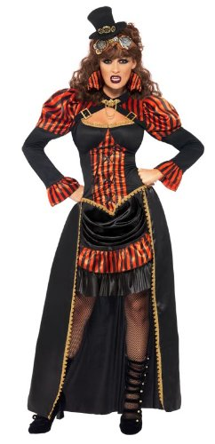 [Smiffy's Steam Punk Victorian Vampiress Costume, Black/Red/Gold, Small] (Red Vampiress Adult Costumes)