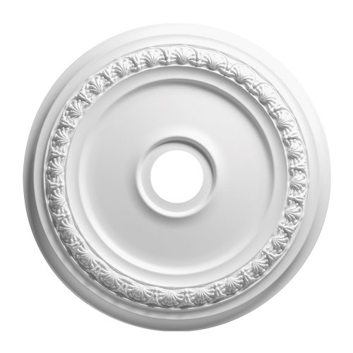 Focal Point 83424 24-Inch Shell and Bellflower Medallion 24 3/8-Inch by 24 3/8-Inch by 1 5/8-Inch, Primed White